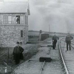 Workmen at the landing site of the Middlesbrough Meteorite