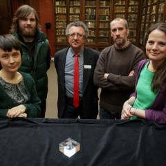 Dr Chantal Conneller (The University of Manchester), Tom Bell, Dr Keith Emerick (Historic England), Dr Barry Taylor (University of Chester) and Professor Nicky Milner (University of York) with the 11,000 year old engraved shale pendant discovered by archaeologists during excavations at the Early Mesolithic site at Star Carr in North Yorkshire. Image taken at the Yorkshire Museum, York. Credit: Suzy Harrison