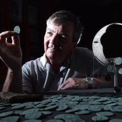 Metal detectorist David Blakey with the Wold Newton Hoard (image © Anthony Chappel-Ross)