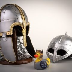 Replica helmets and a rubber duck