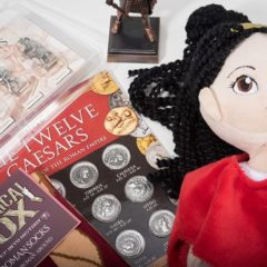 Roman-themed souvenirs; doll, coins, socks, etc.