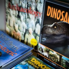 Close-up of dinosaur books