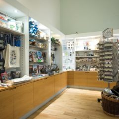 Display stands in a museum shop