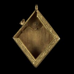 Interior of Middleham Jewel, showing a hollow area inside the pendant where a saint relic was likely stored.