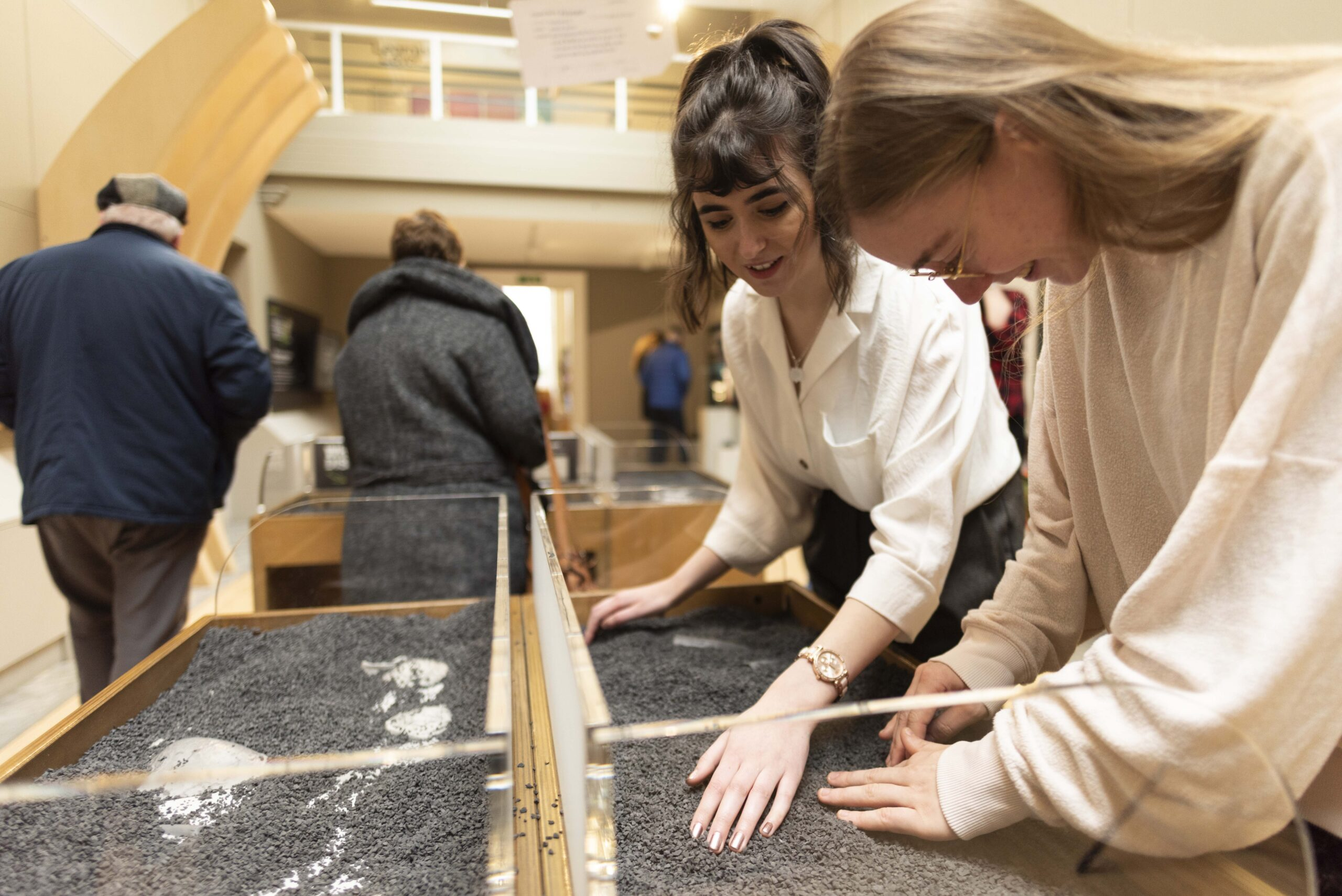 People finding fossils in the Jurassic Exhibit